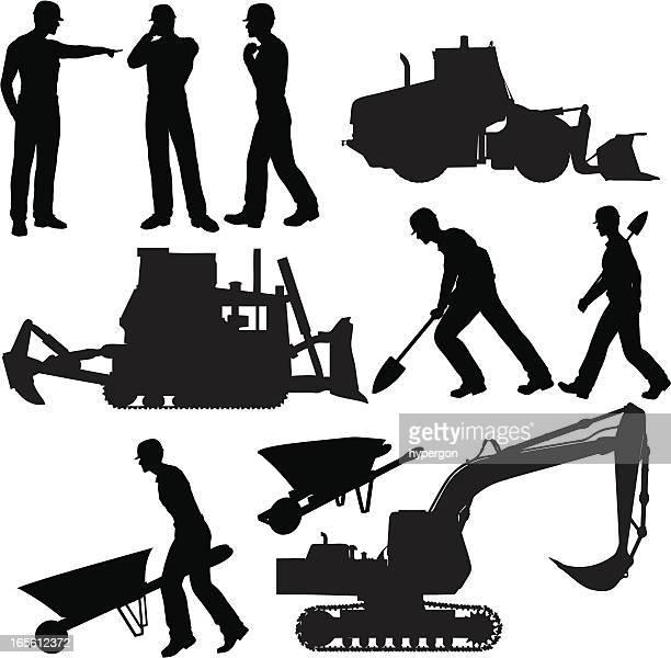 construction silhouette collection - wheelbarrow stock illustrations, clip art, cartoons, & icons