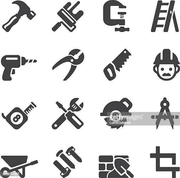 construction silhouette icons | eps10 - carpenter stock illustrations