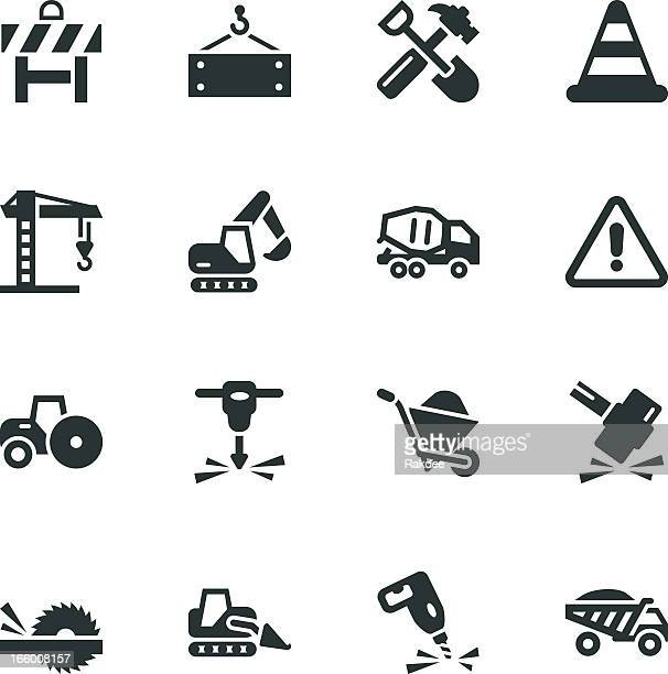 construction silhouette icons - crane construction machinery stock illustrations