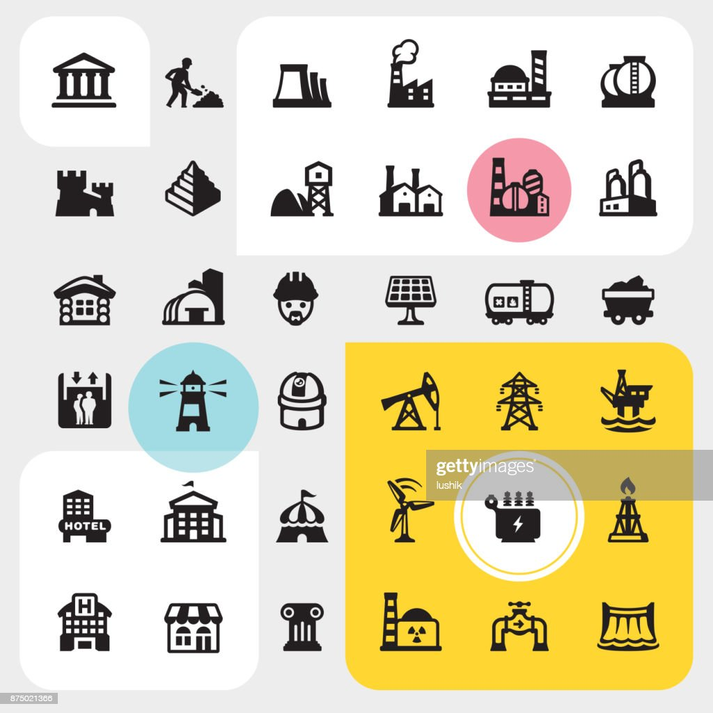 Construction site and Industrial Buildings - icon set : stock illustration