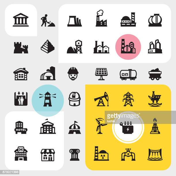 Construction site and Industrial Buildings - icon set