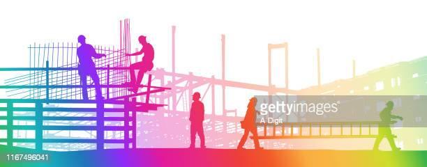 stockillustraties, clipart, cartoons en iconen met bouwplaats rainbow - crew