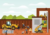Construction site. The construction of the building. Isolated elements. Builders are doing their job. Front loaders and telehandlers. Fences. Against the background of trees and sky. Flat style.