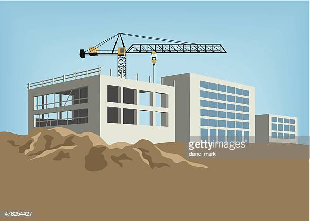 construction site - foundation stock illustrations, clip art, cartoons, & icons
