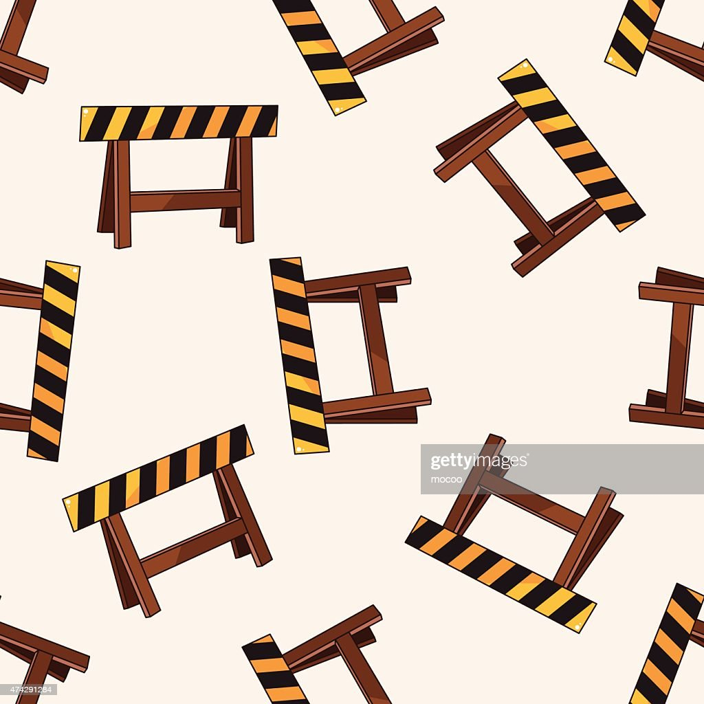 Construction sites fence , cartoon seamless pattern background