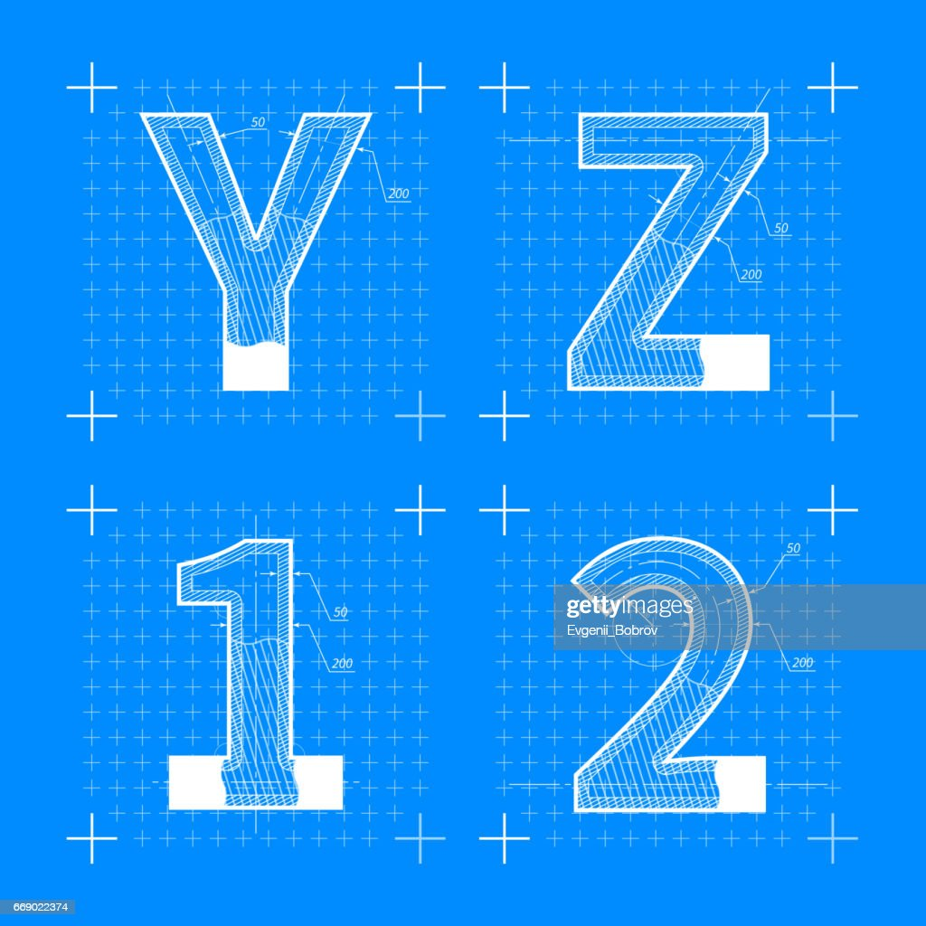 Construction sketches of y z 1 2 letters blueprint style font vector construction sketches of y z 1 2 letters blueprint style font vector art malvernweather Gallery