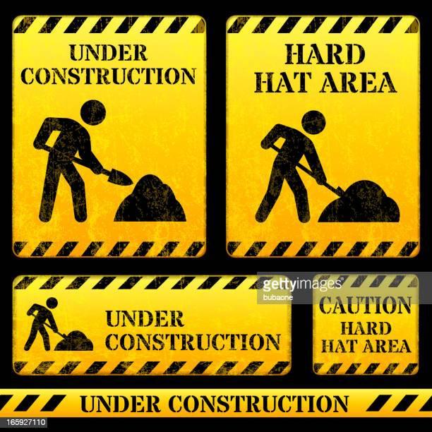 ilustrações de stock, clip art, desenhos animados e ícones de sinal de rua de construção - gari