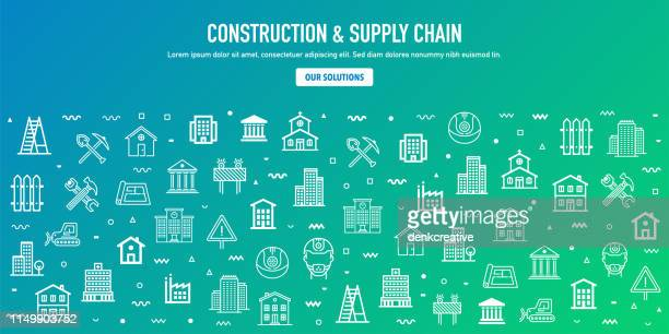 construction & supply chain outline style web banner design - retail employee stock illustrations
