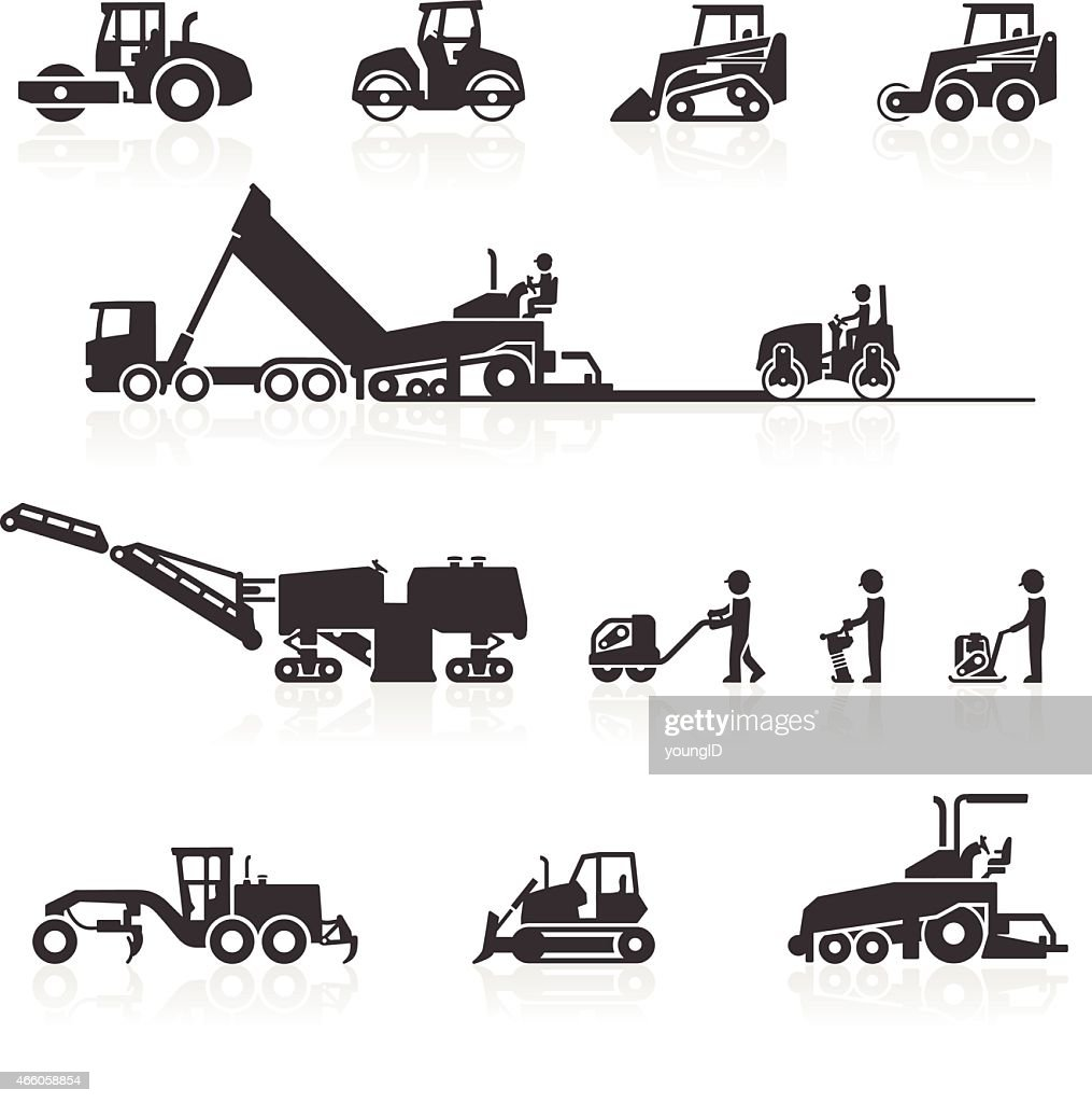 Construction Surfacing And Paving Machinery Icons Stock Illustration