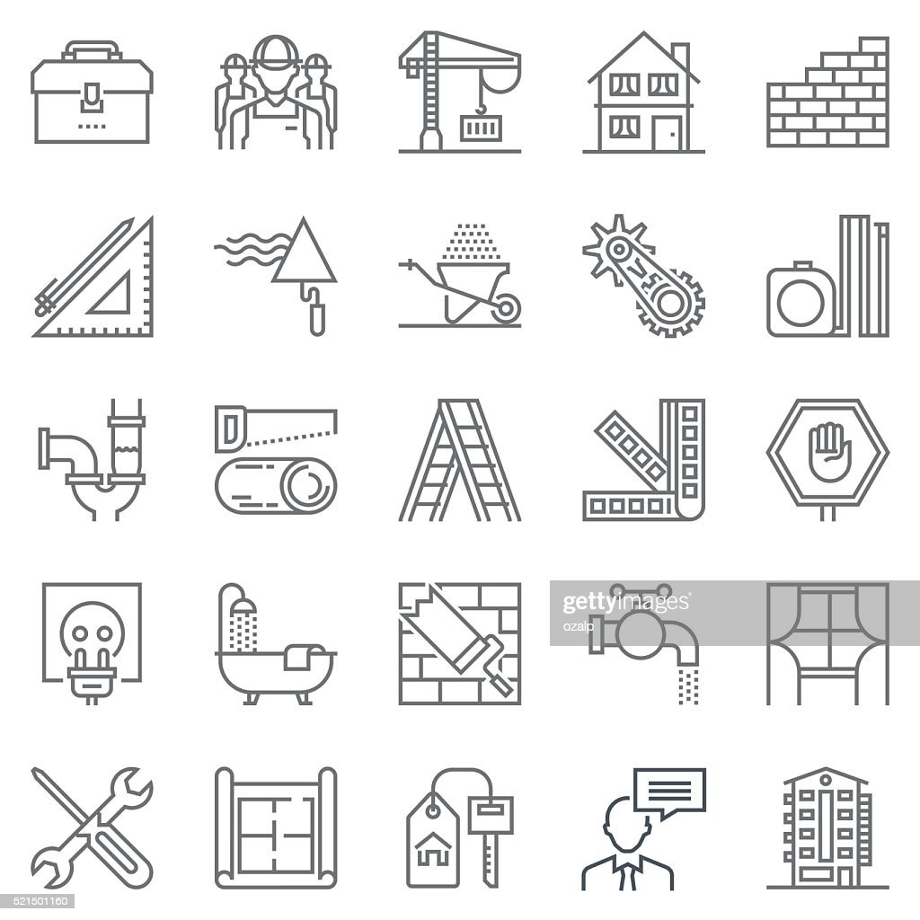 Construction theme icon set