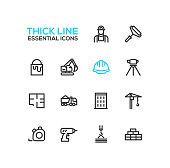Construction - Thick Single Line Icons Set