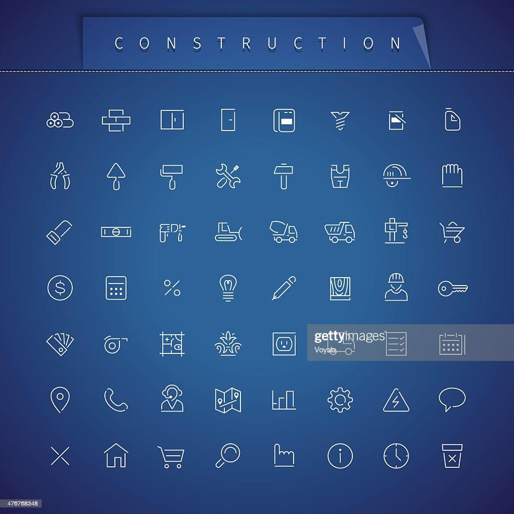 Construction Thin Icons Set