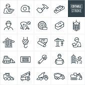 Construction Thin Line Icons - Editable Stroke
