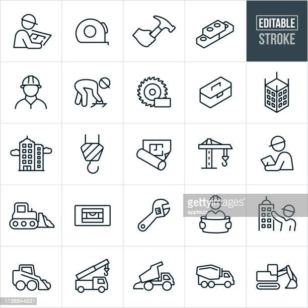 construction thin line icons-editable stroke - schutzhelm stock-grafiken, -clipart, -cartoons und -symbole