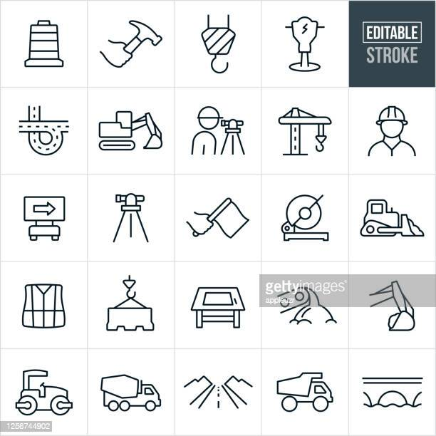 construction thin line icons - editable stroke - manufacturing equipment stock illustrations