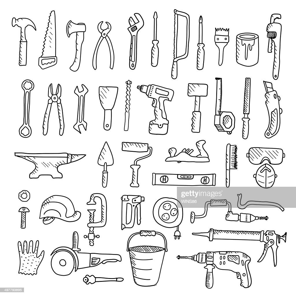 Construction tool collection - vector silhouette.