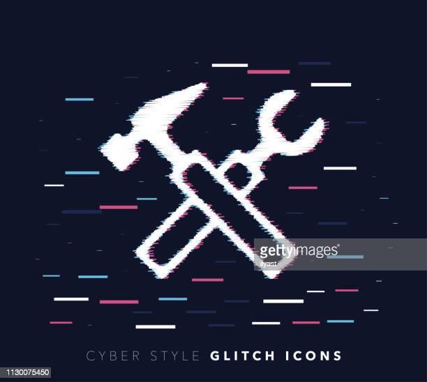 ilustrações de stock, clip art, desenhos animados e ícones de construction tools & fixing glitch effect vector icon illustration - rebite ferramenta de trabalho