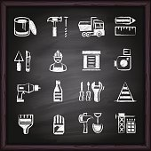 Construction Tools Icons on chalkboard