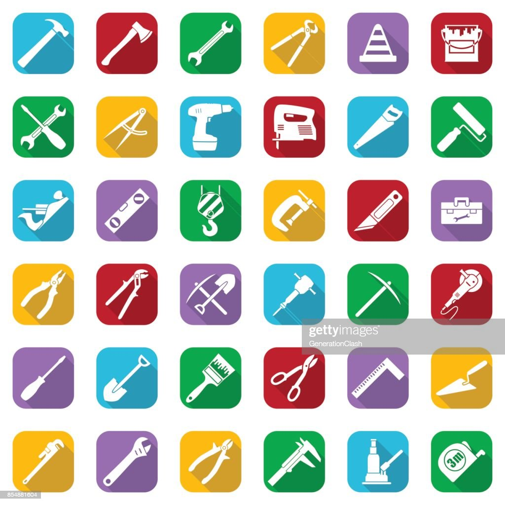 Construction Tools White Icons Set On A Color Square Vector