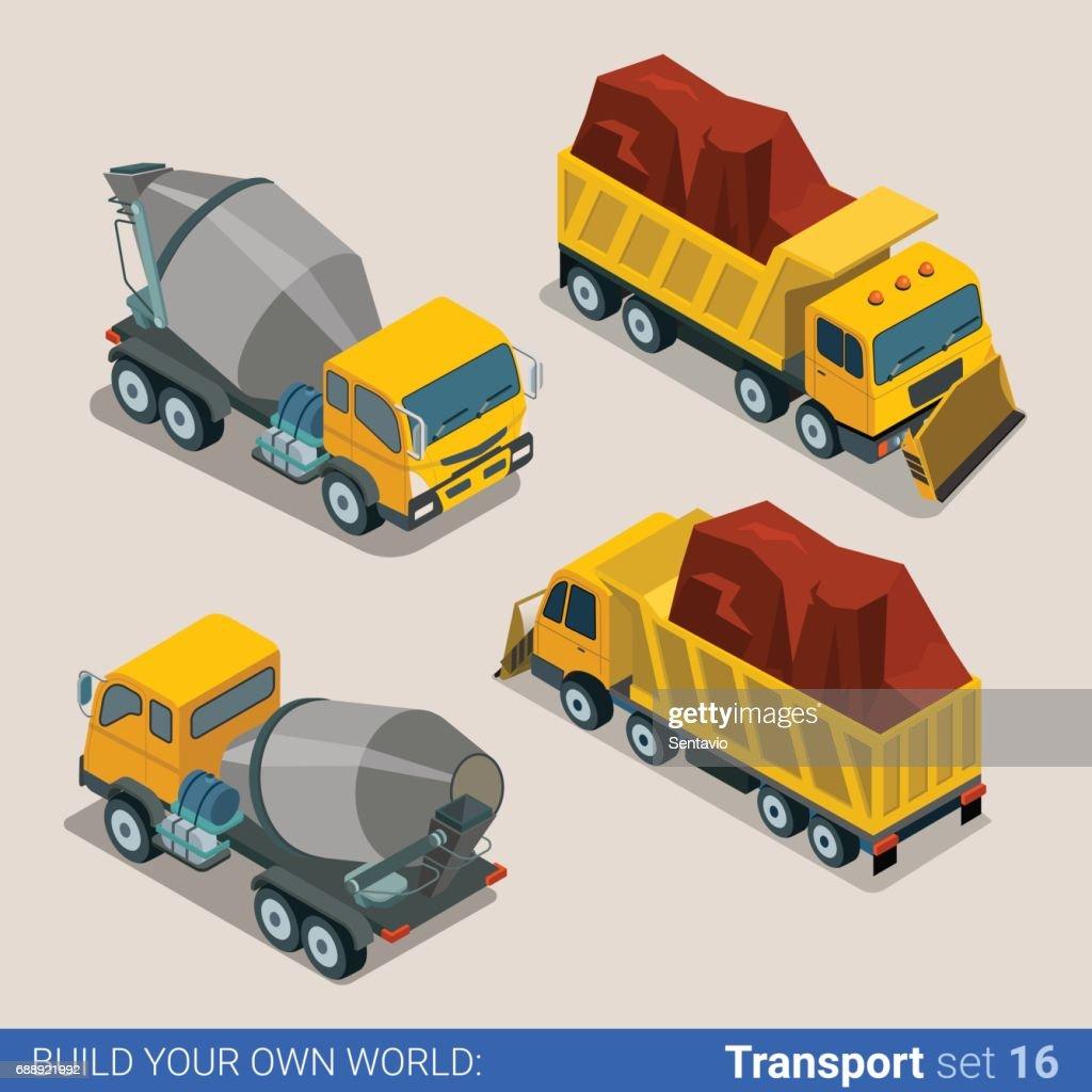 Construction transport heavy trucks. Concrete mixer, tip truck tipper lorry dumper. Flat 3d isometry isometric style web site app icon set concept vector illustration.