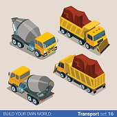Construction transport heavy trucks. Concrete mixer, tip truck tipper lorry dumper. Flat 3d isometry isometric style web site app icon set concept vector illustration.
