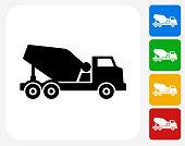 Construction Truck Icon Flat Graphic Design