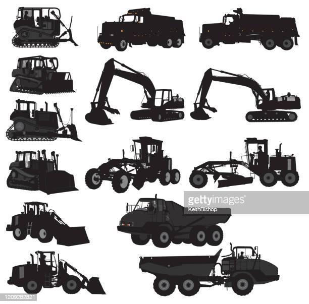 建設車両セット - ブルドーザー、ダンプトラック、オーガー - ブルドーザー点のイラスト素材/クリップアート素材/マンガ素材/アイコン素材