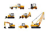 Construction Vehicles - modern vector icon set