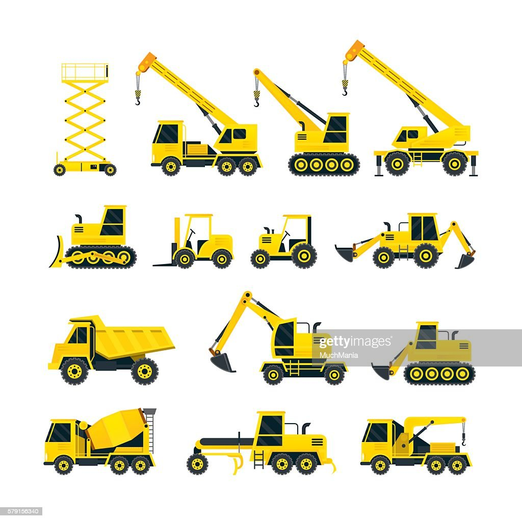 Construction Vehicles Objects Yellow Set
