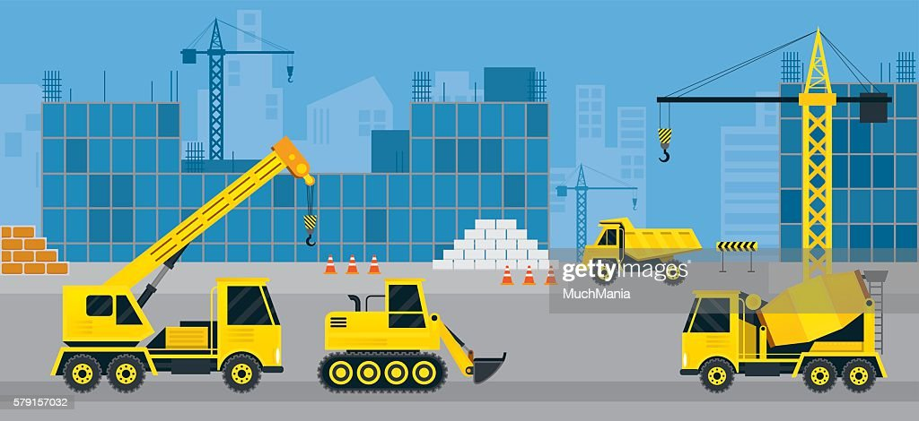 Construction Vehicles on Site, Background