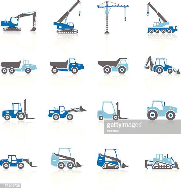 Construction Vehicles Silhouette - Blue Series