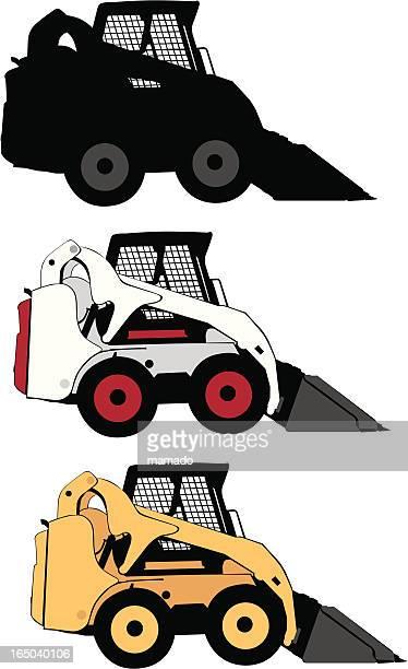 ilustrações, clipart, desenhos animados e ícones de construção de veículos: minicarregadeira carr - skidding