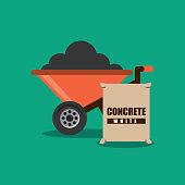 construction wheelbarrow and sack concrete