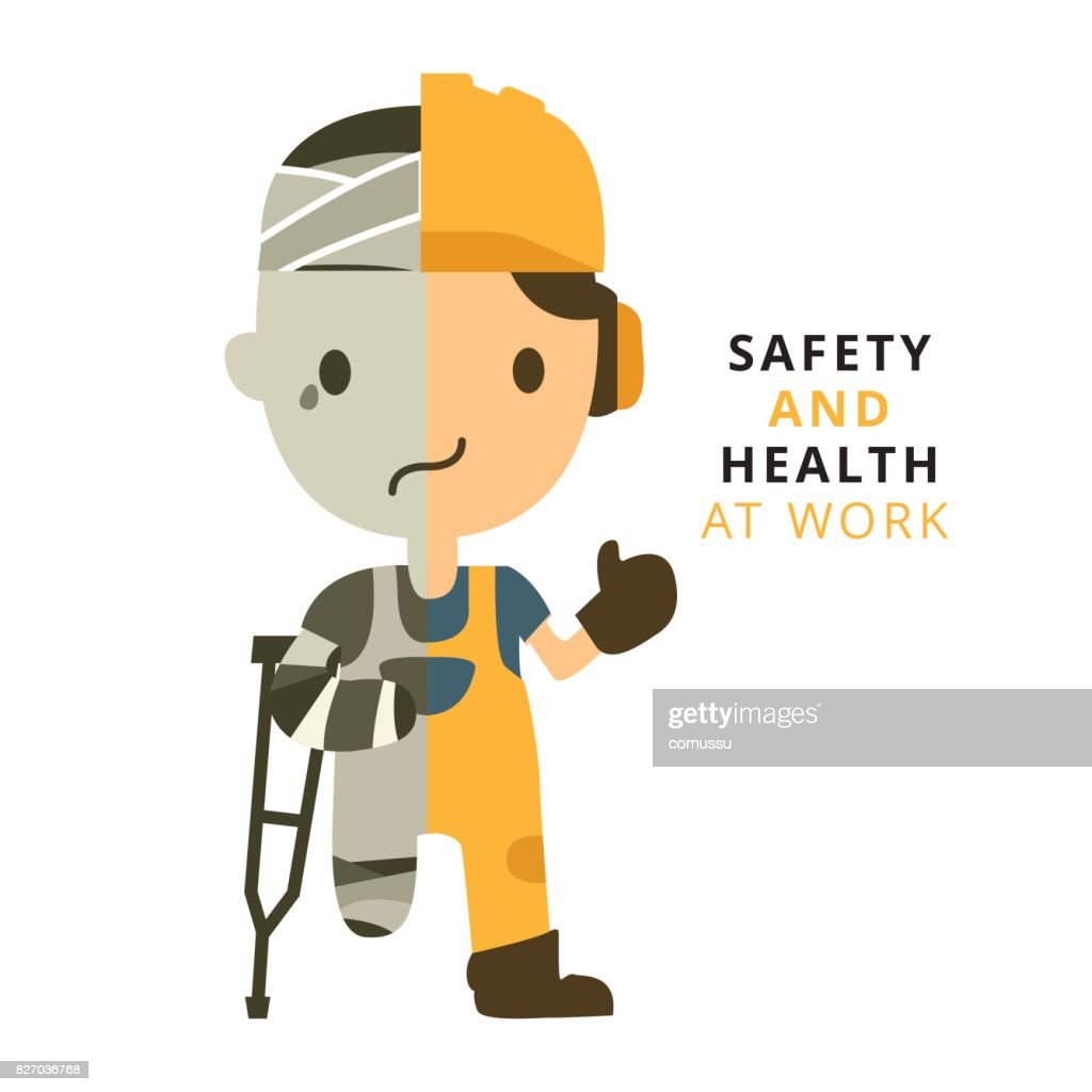 Construction worker, Accident working, safety first, health and safety, vector illustrator