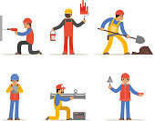 Construction worker, architect and engineer vector character