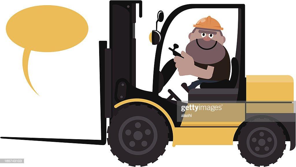 Trabajador de la construcción en automóvil de una carretilla elevadora : Ilustración de stock