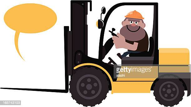 construction worker driving a forklift - occupational safety and health stock illustrations, clip art, cartoons, & icons