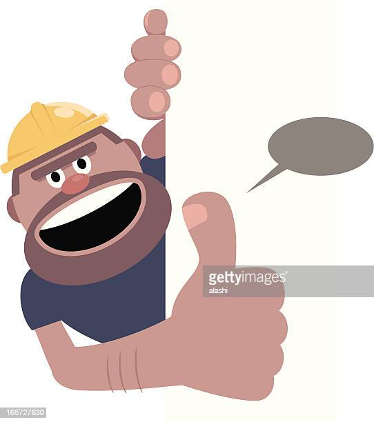 Construction Worker Gesturing Thumbs Up With Blank Sign