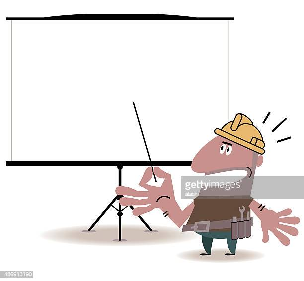 Construction Worker giving a presentation in a conference/meeting setting