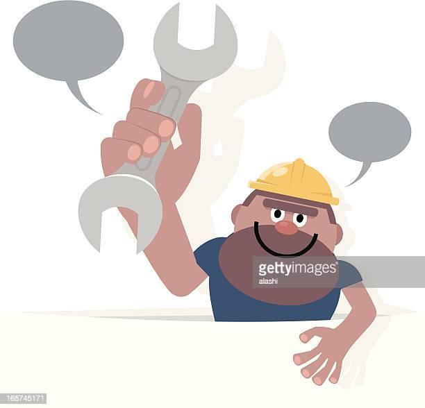 Construction Worker hält ein Schraubenschlüssel hinter weiße Papier