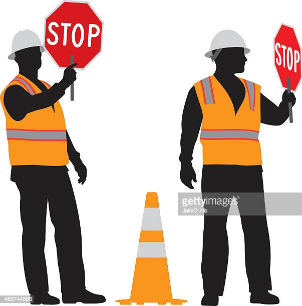 construction worker holding stop sign silhouette - waistcoat stock illustrations, clip art, cartoons, & icons