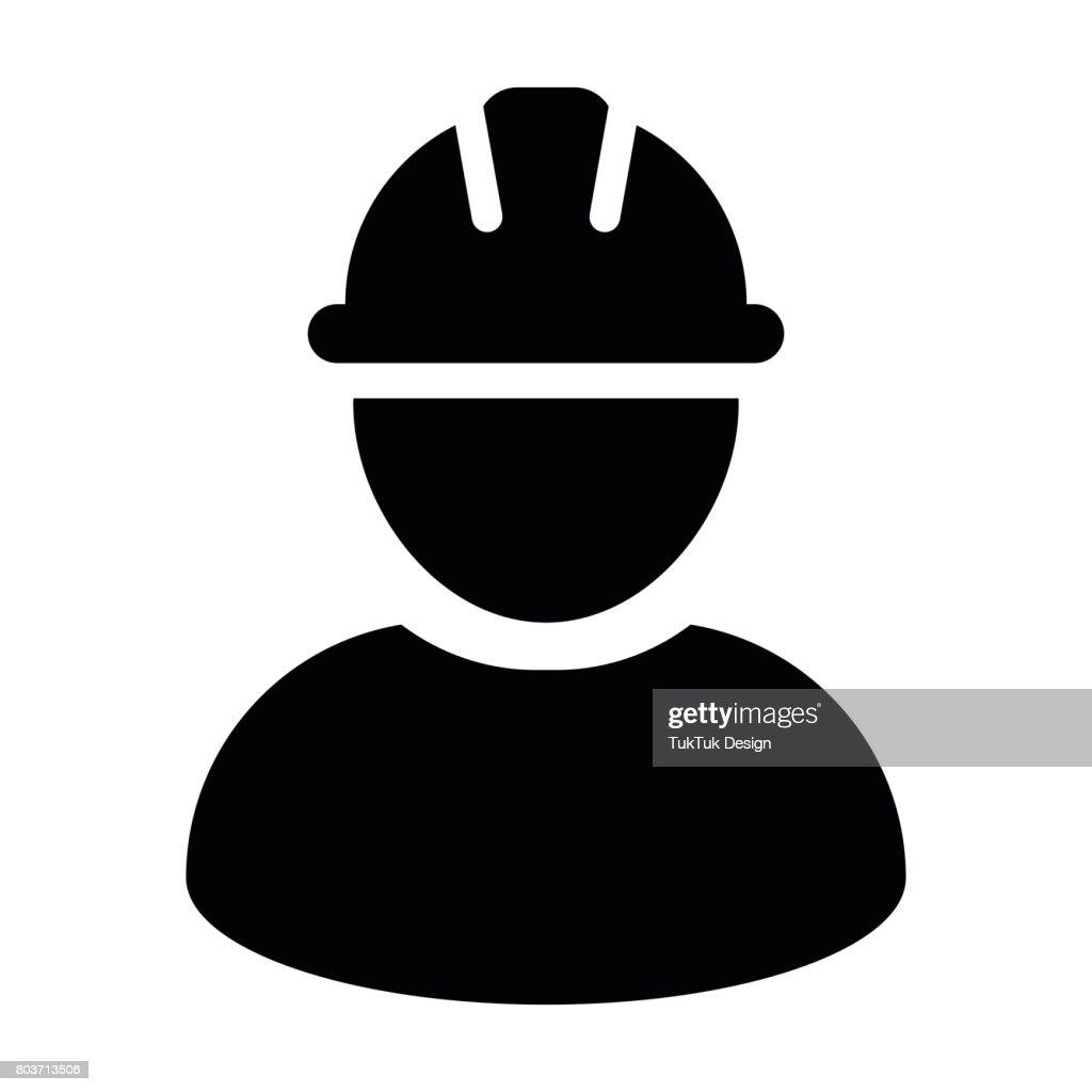 Construction Worker Icon - Vector Person Profile Avatar Pictogram