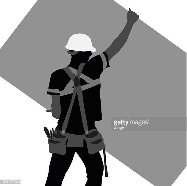 construction worker lifting a sheet of plywood - tool belt stock illustrations, clip art, cartoons, & icons