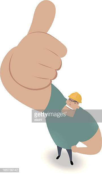 Construction Worker Looking Upward And Gesturing Thumbs Up