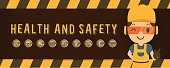 Construction worker repairman  pointer banner, safety first, health and safety, vector illustrator