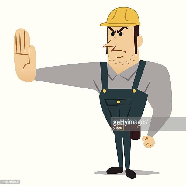 ilustraciones, imágenes clip art, dibujos animados e iconos de stock de trabajador de la construcción señal de pare (stop) - electricista