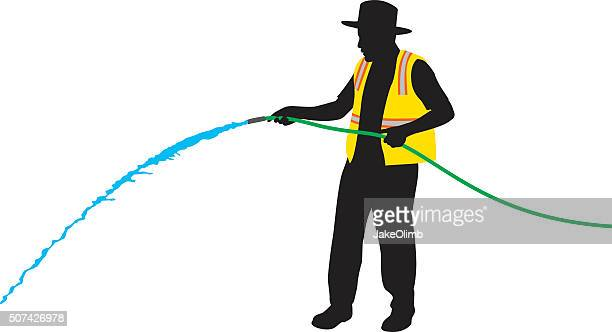 construction worker using hose silhouette - waistcoat stock illustrations, clip art, cartoons, & icons