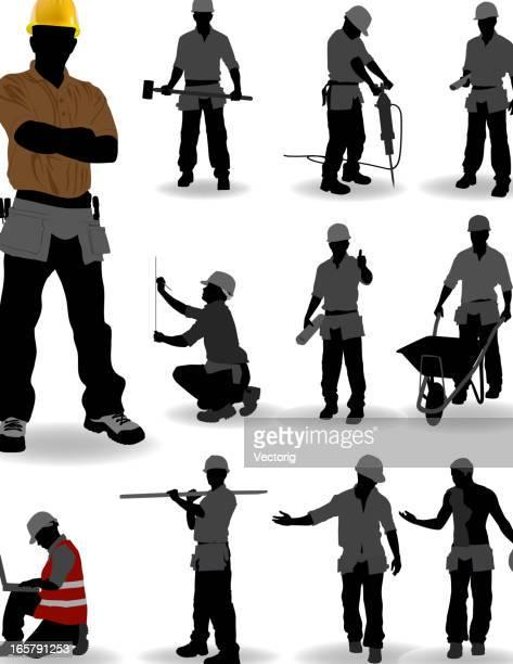 ilustrações, clipart, desenhos animados e ícones de trabalhador de construção - trabalhador manual