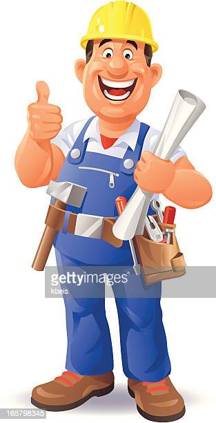 construction worker - carpenter stock illustrations