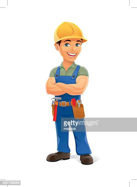 construction worker - contractor stock illustrations, clip art, cartoons, & icons